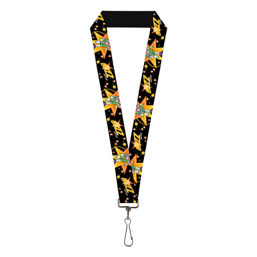 "Lanyard - 1.0"" - Toy Story BUZZ LIGHTYEAR Running Pose Stars Black Orange Yellow"