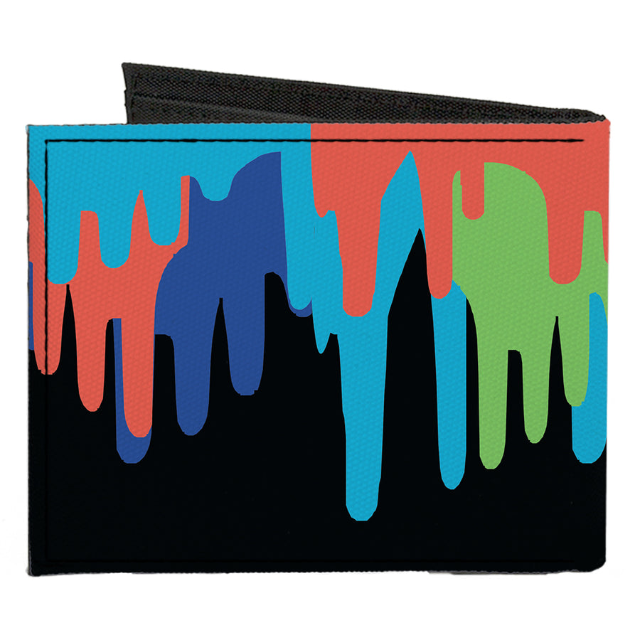 Canvas Bi-Fold Wallet - Paint Drips Black Multi Neon