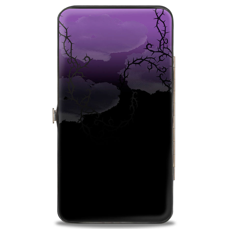 Hinged Wallet - Maleficent Raising Staff Pose Forest of Thorns Purples Black