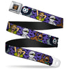 Scooby Doo Face Full Color Black Seatbelt Belt - Mini Scooby Doo Halloween/Bats Purple/Black Webbing