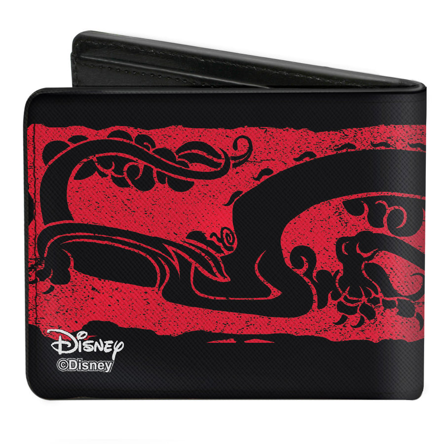 Bi-Fold Wallet - Mulan Dragon Block Print Black Red Black