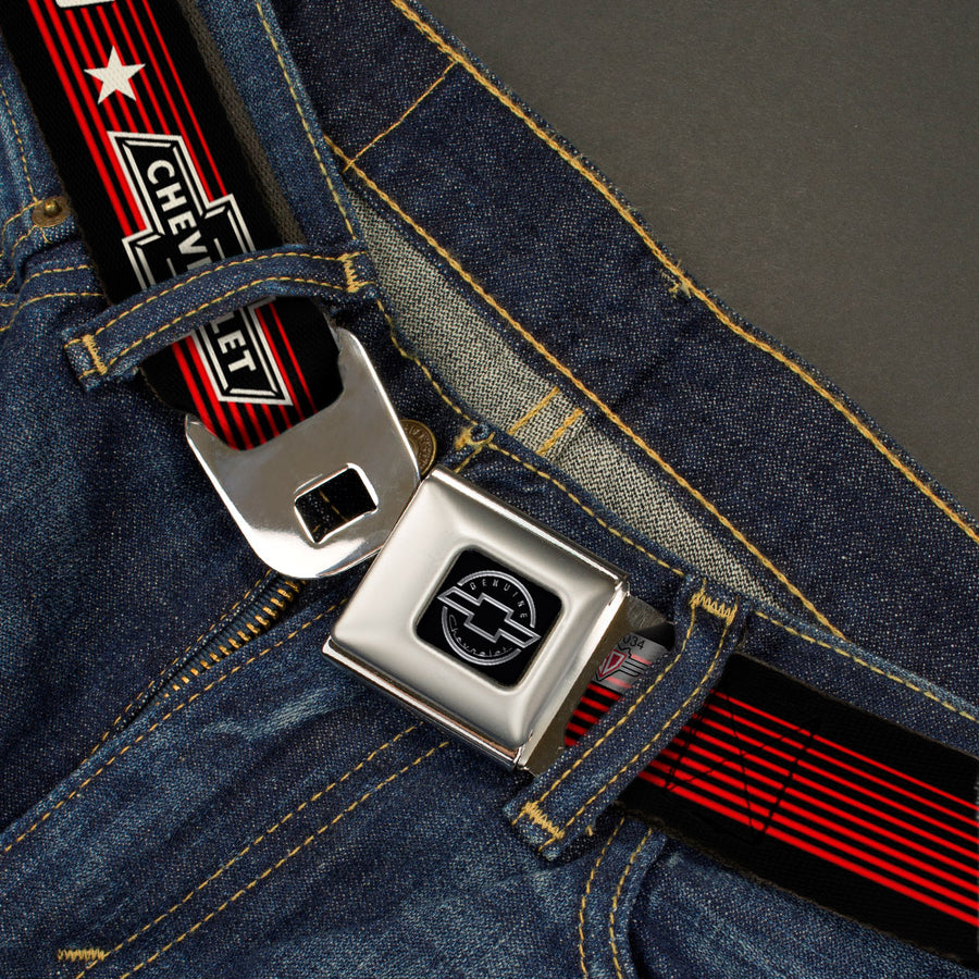 Chevy Seatbelt Belt - Vintage CHEVROLET Bowtie SINCE 1911/Stars Stripe Black/Red/Ivory (1934 logo) Webbing