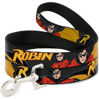 Dog Leash - ROBIN Red/Black Poses Gray