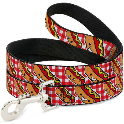 Dog Leash - Hot Dogs Buffalo Plaid White/Red