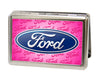Business Card Holder - LARGE - Ford Oval w Text FCG Pink
