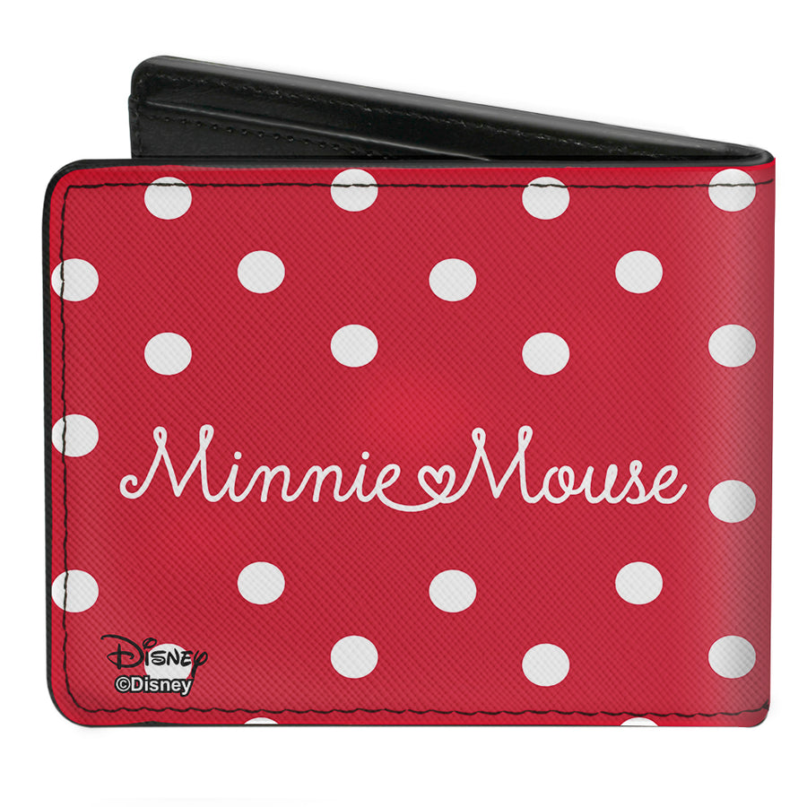 Bi-Fold Wallet - Minnie Mouse Face + Script Polka Dots Red White