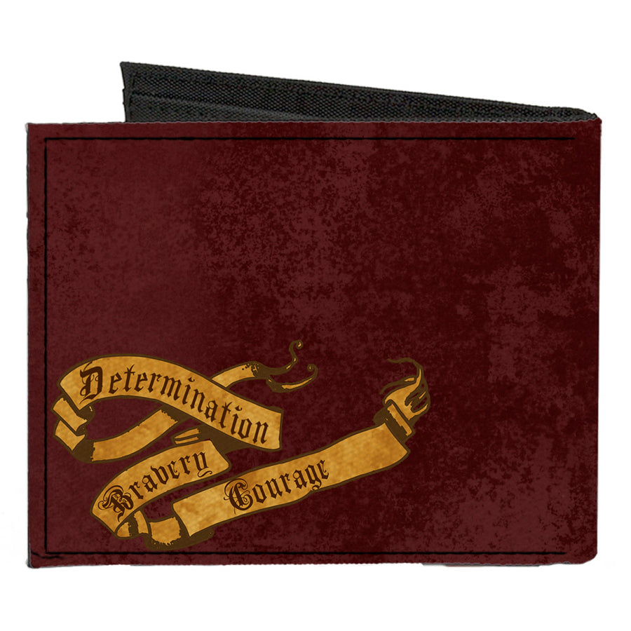 Canvas Bi-Fold Wallet - GRYFFINDOR Lion Crest + DETERMINATION BRAVERY COURAGE Banner Burgundy Reds Golds