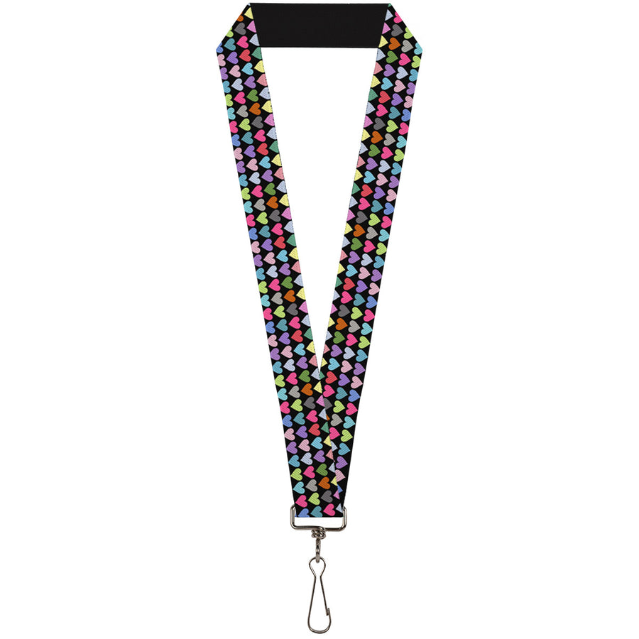 "Lanyard - 1.0"" - Mini Hearts Black Multi Color"