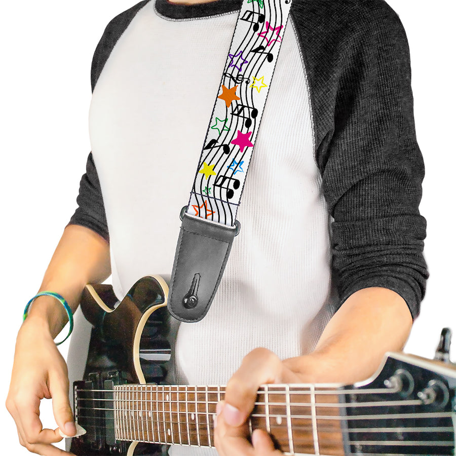 Guitar Strap - Music Notes Stars White Black Multi Color
