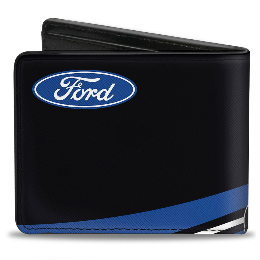 Bi-Fold Wallet - COBRA JET Logo + FORD Oval Black Blue White Red