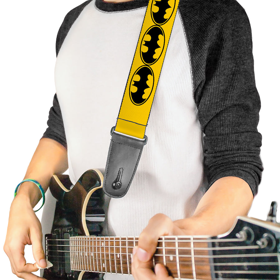 Guitar Strap - Bat Signal-3 Yellow Black Yellow
