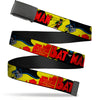 Black Buckle Web Belt - Classic BATMAN Issue #1 Robin & Batman Cover Pose Yellow/Red Webbing