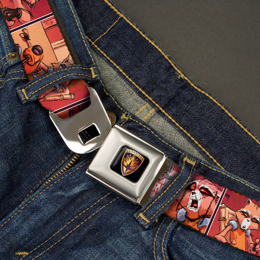 GUARDIANS OF THE GALAXY - EVERGREEN GUARDIANS Badge Full Color Black Gold Purple Seatbelt Belt - Rocket Raccoon 8-Sitting Comic Scene Blocks Webbing