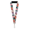 "Lanyard - 1.0"" - The Little Mermaid Ariel Over Shoulder Sketch Pose Shells Black Pinks"