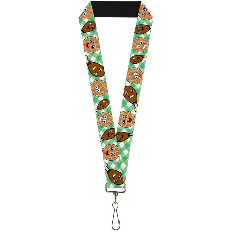 "Lanyard - 1.0"" - Fried Chicken & Waffles Plaid White Green"