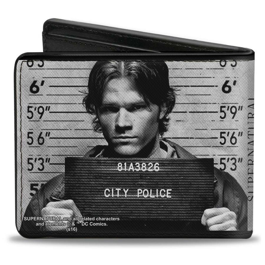 Bi-Fold Wallet - Supernatural Dean + Sam Mug Shots Grays Black White