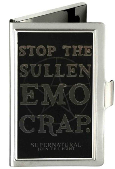 Business Card Holder - SMALL - STOP THE SULLEN EMO CRAP Pentagram Reverse Brushed