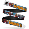 MARVEL AVENGERS MARVEL AVENGERS Logo Full Color Black Red White Seatbelt Belt - IRON MAN w/Avengers Logo Cityscape Webbing