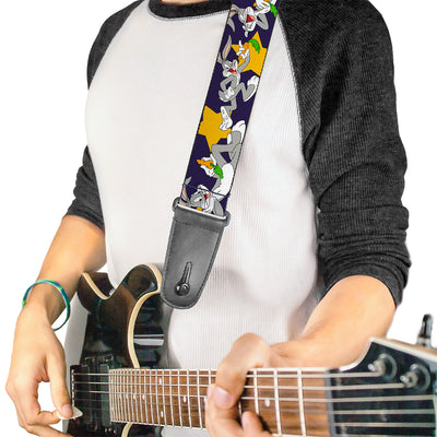 Guitar Strap - Bugs Bunny Poses Stars Navy