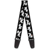 Guitar Strap - Dalmatians Running Paws Black Gray White Black
