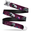 Cheshire Cat Face Stripe Full Color Purple Black White Seatbelt Belt - Cheshire Cat Face/Poses Stripe Purple/Black/White Webbing