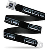 Ford Oval Full Color Black Blue Seatbelt Belt - F-150 Emblem Black/Silver-Fade Webbing