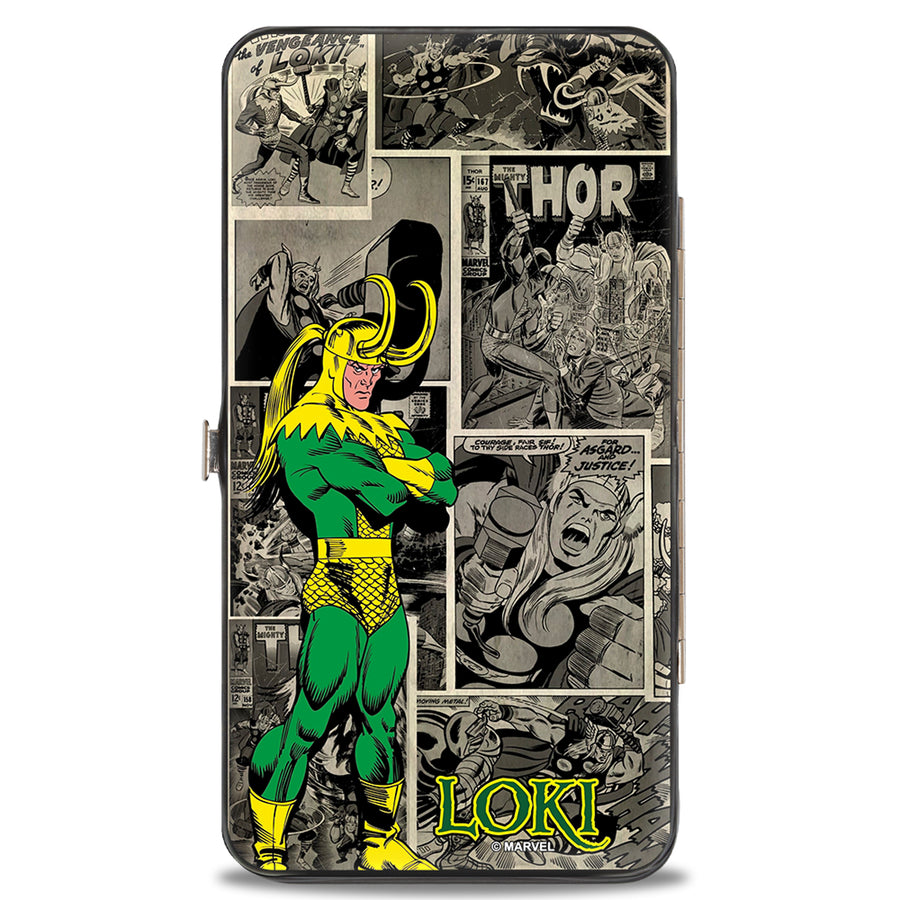 MARVEL COMICS Hinged Wallet - LOKI Poses Comic Blocks Grays Yellow Green