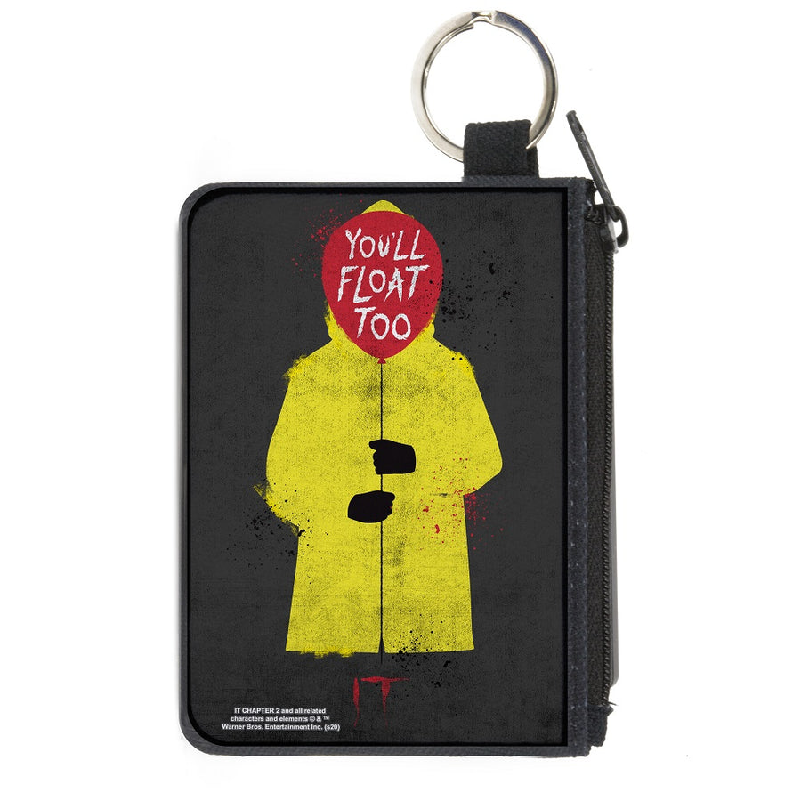 Canvas Zipper Wallet - MINI X-SMALL - It Georgie Raincoat Balloon YOU'LL FLOAT TOO Pose Gray
