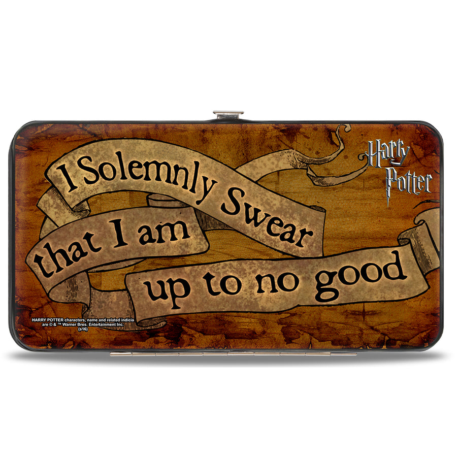 Hinged Wallet - Harry Potter I SOLEMNLY SWEAR THAT I AM UP TO NO GOOD Banner Tan Black