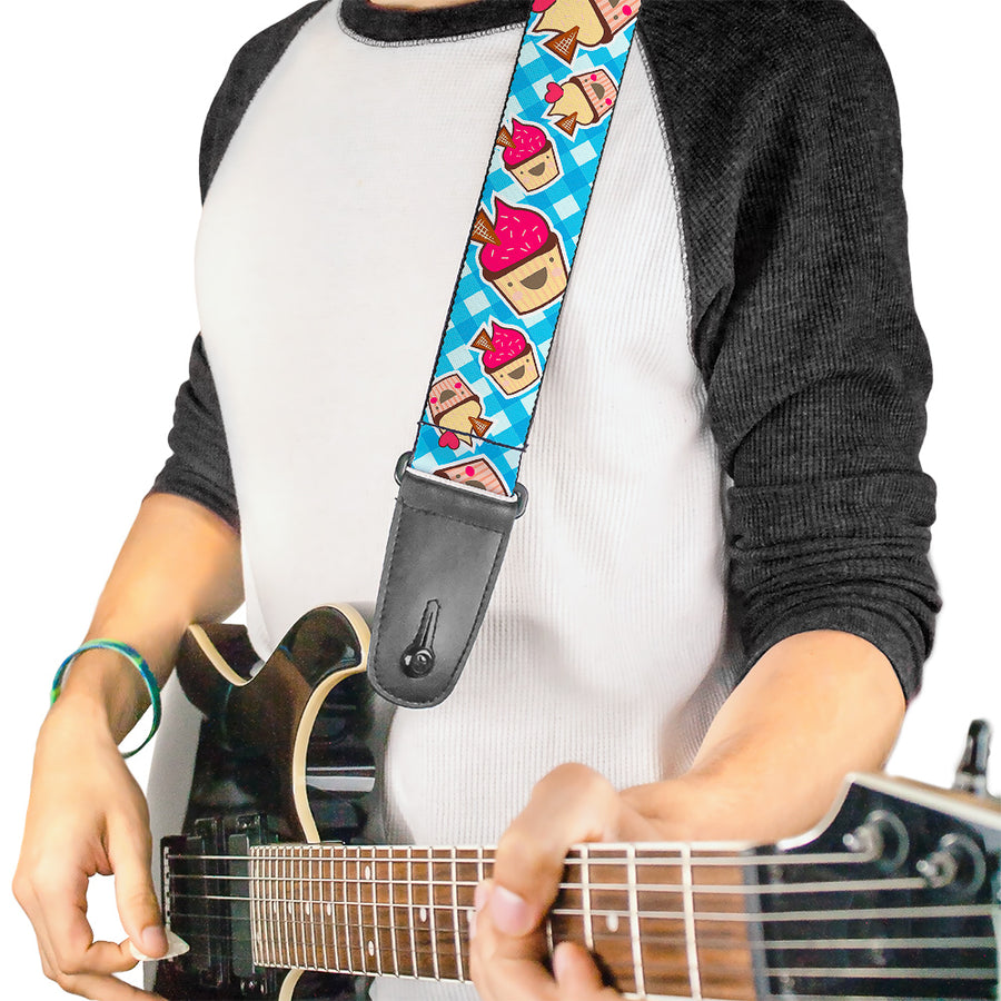Guitar Strap - Happy Cupcakes Buffalo Plaid White Blue