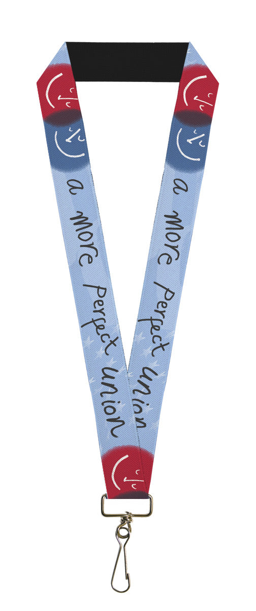 "Lanyard - 1.0"" - A MORE PERFECT UNION Smiley Faces Blues Gray Red White"