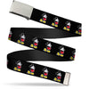 Chrome Buckle Web Belt - Classic Mickey Mouse Pose Black Webbing