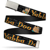 Chrome Buckle Web Belt - Fred Face/Pose YABBA DABBA DOO Black/Gray/Orange Webbing