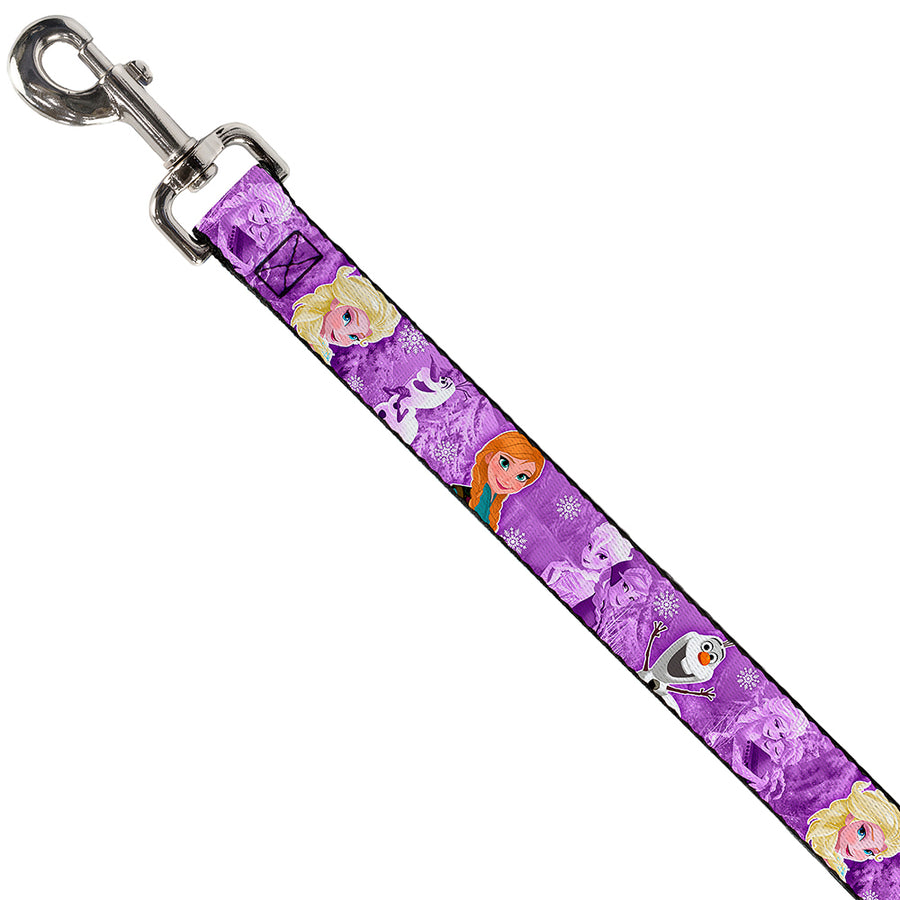 Dog Leash - Frozen Anna/Elsa/Olaf Poses/Scenes Purples