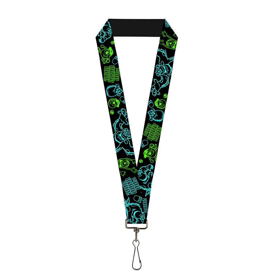 "Lanyard - 1.0"" - Monsters Inc Sully & Mike Poses GRRRRR! Black Turquoise Green"