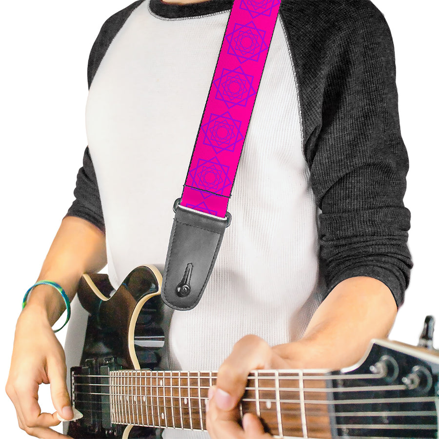 Guitar Strap - Rotating Squares Pink Purple