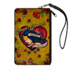 Canvas Zipper Wallet - LARGE - Studded WONDER WOMAN Heart STRENGTH AND BEAUTY Tattoo Roses Gold