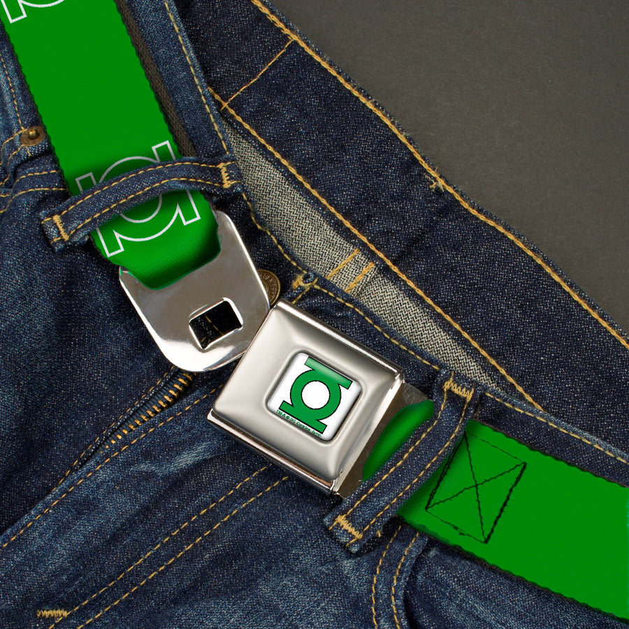Green Lantern Logo CLOSE-UP White Green Seatbelt Belt - Green Lantern Logo Green/White Webbing