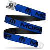 MOPAR Logo Full Color Black White Seatbelt Belt - MOPAR Text/Logo Blue/Black Webbing
