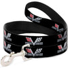 Dog Leash - 1967 Impala 396 TURBO-JET V Emblem Black/Silver/Red/White