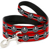 Dog Leash - HYDRA Logo/Stripe Red/Black/White