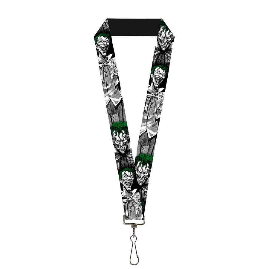 "Lanyard - 1.0"" - Joker Laughing Poses Black White Green"