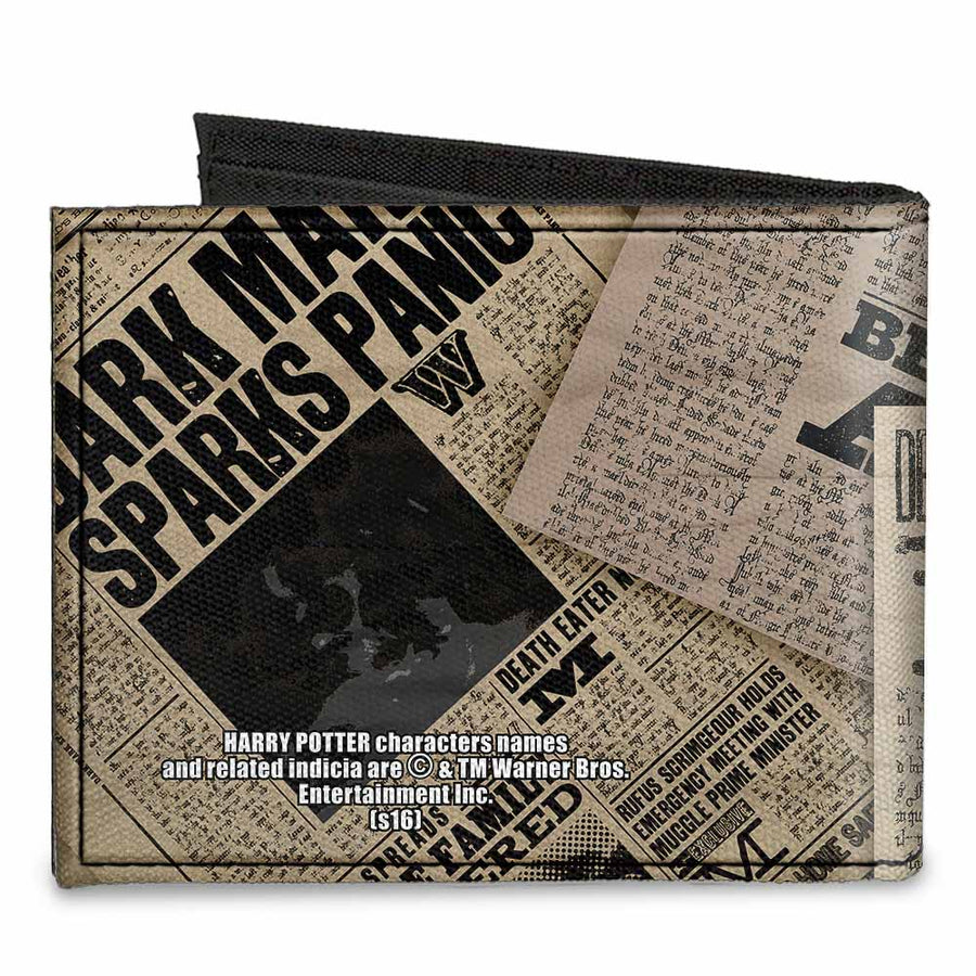 Canvas Bi-Fold Wallet - Harry Potter Newspaper Headlines UNDESIRABLE NO 1