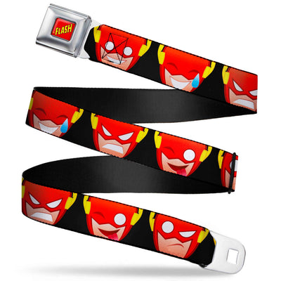 THE FLASH Full Color Red/Black/Yellow Seatbelt Belt - The Flash 5-Emoji Expressions Black Webbing