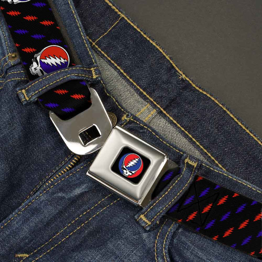 Steal Your Face Seatbelt Belt - Steal Your Face Repeat w/Mini Lightning Bolt Black/Red/White/Blue Webbing