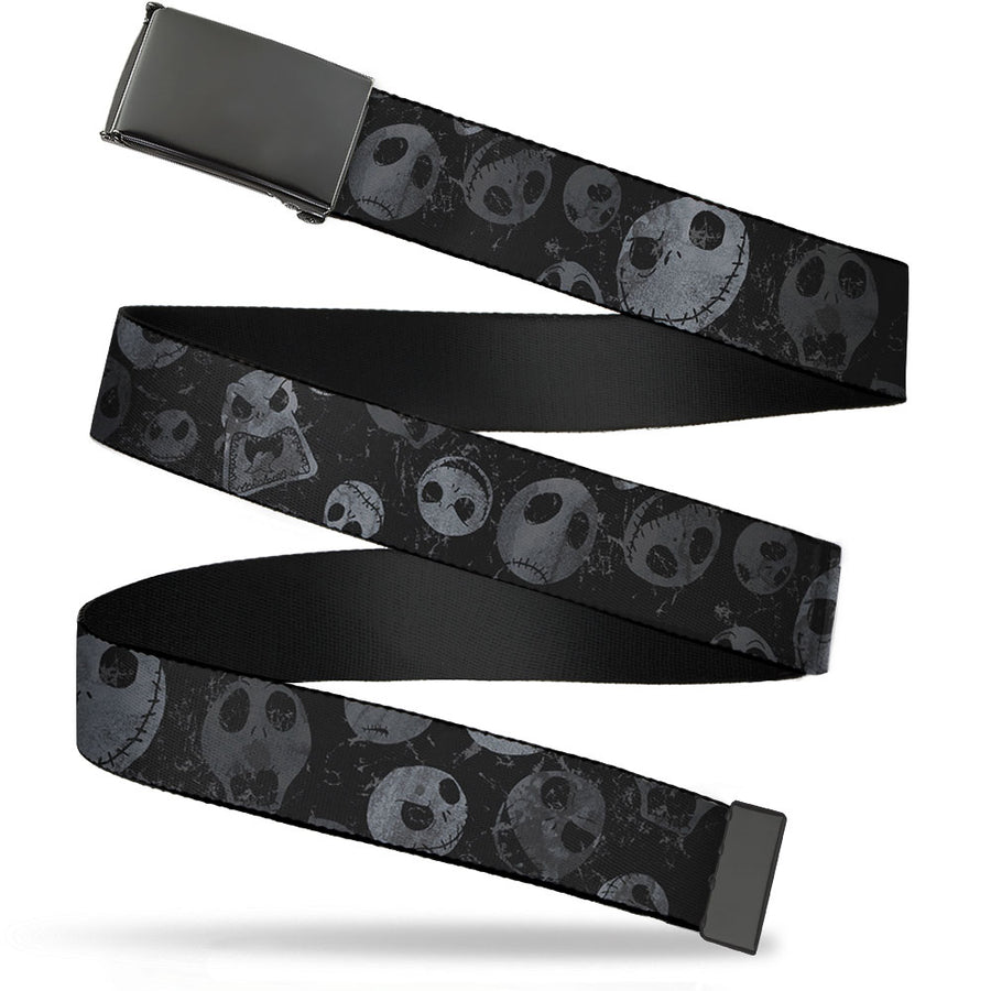 Black Buckle Web Belt - Nightmare Before Christmas Jack Expressions Scattered Weathered Webbing