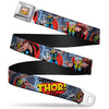 MARVEL COMICS Marvel Comics Logo Full Color Seatbelt Belt - THOR! Action Poses/Pop Art Logo Space Dust Webbing