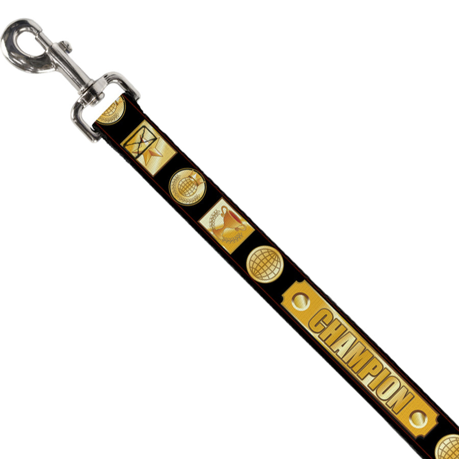 Dog Leash - CHAMPION Belt/Icons Black/Golds
