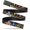 Black Buckle Web Belt - X-Men 7-Character Action Poses Webbing