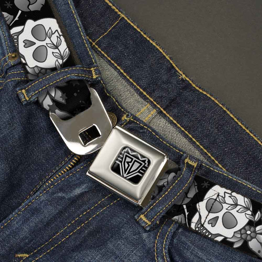 BD Wings Logo CLOSE-UP Full Color Black Silver Seatbelt Belt - Death Before Dishonor Black/White Webbing